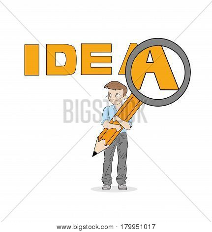The little man is holding a magnifying glass. Considers an idea. vector illustration.