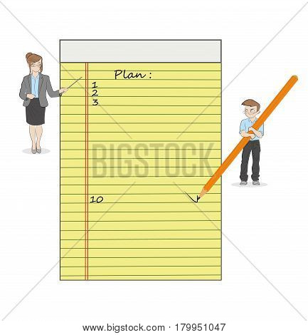 Little men write a work plan in a yellow notebook. Teamwork planning. Vector illustration.
