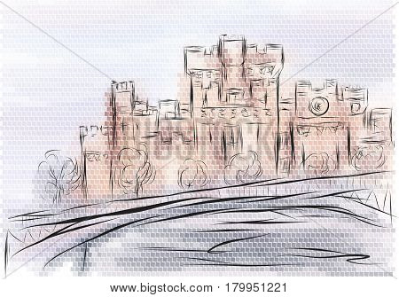 windermere. abstract illustration of castle on multicolor background