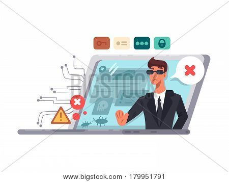 Online computer security. Protection of access and passwords. Vector illustration