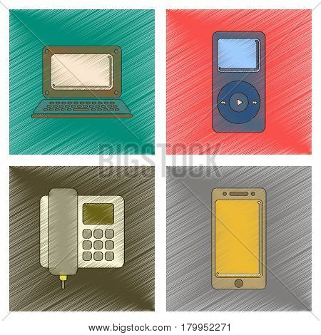 assembly flat shading style icon of office music player laptop mobile phone