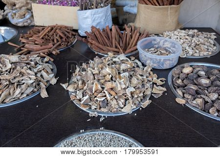 Dried Mushrooms And Cinnamon Sticks With Other Goods For Sale At Mahane Yehuda Market, Popular Marke