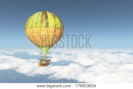 Computer generated 3D illustration with a fantasy hot air balloon above the clouds