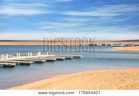 Scenic landscape of Lake Powell near Page Arizona