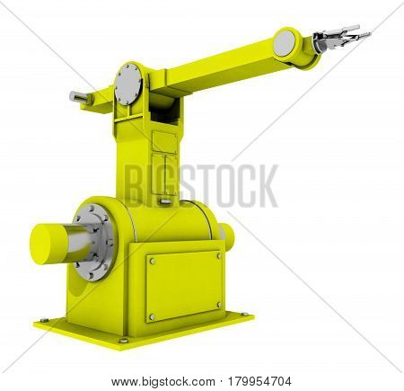 Computer generated 3D illustration with a robotic arm isolated on white background