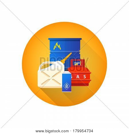 Vector Combustible Hazardous Waste Icon.