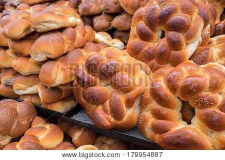 Fresh Round Challah Or Sale At Mahane Yehuda Market, Popular Marketplace In Jerusalem, Israel
