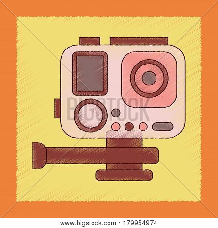 flat shading style icon of technology camcorder
