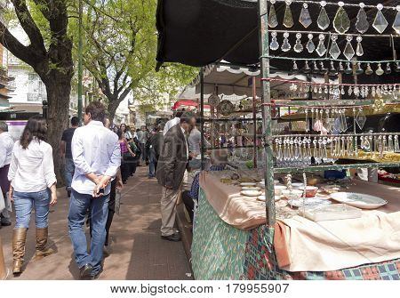 Street Market In Plaza Dorrego In San Telmo, Buenos Aires, Argentina