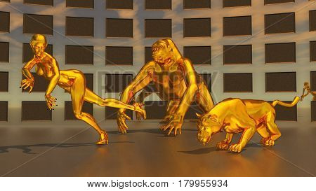 Computer generated 3D illustration with golden sculptures of woman, gorilla and leopard