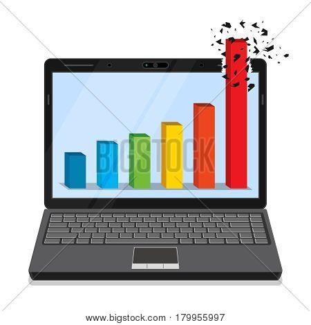 Laptop with business graph on the screen.