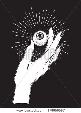 Human Eyeball In Female Hand Isolated. Sticker, Print Or Blackwork Tattoo Hand Drawn Vector Illustra