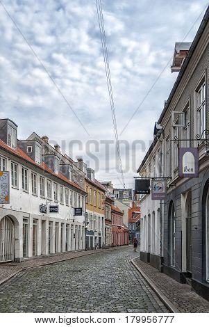 AARHUS DENMARK - AUGUST 09 2009: Street scene from the Danish city of Aarhus.