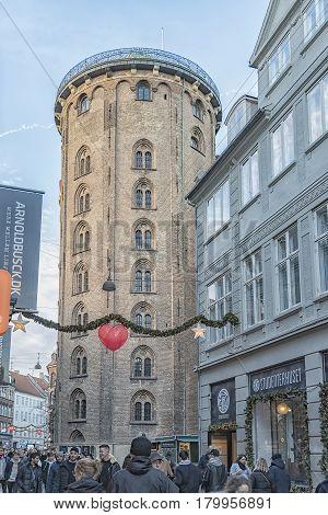 COPENHAGEN DENMARK - DECEMBER 23 2016: The Rundetaarn (Round Tower) is a 17th-century tower located in central Copenhagen Denmark.