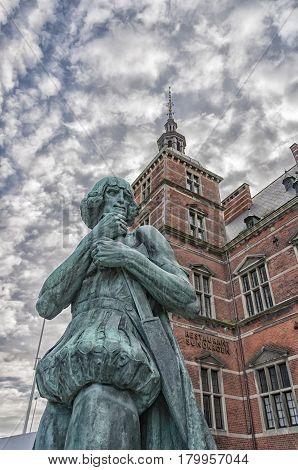 HELSINGOR DENMARK - MARCH 03 2012: One of the statues outside the train station in the old town of Helsingor in Denmark.