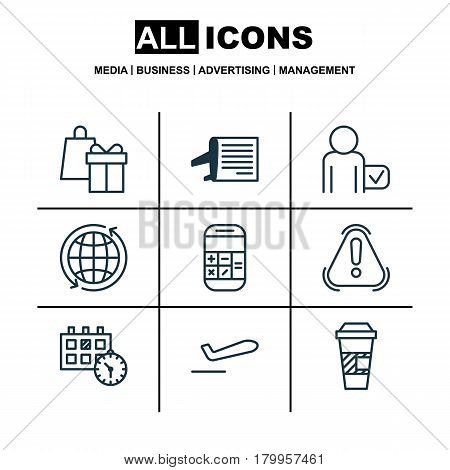 Set Of 9 Transportation Icons. Includes Globetrotter, Timetable, Shopping And Other Symbols. Beautiful Design Elements.