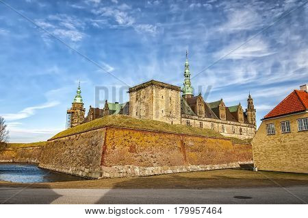 Kronborg castle made famous by William Shakespeare in his play about Hamlet situated in the Danish harbour town of Helsingor.