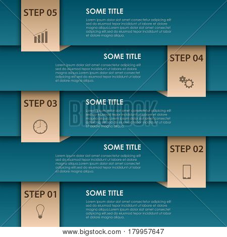 Info graphic with blue stripes and bookmarks template vector eps 10