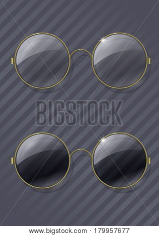 Set of vintage round glasses with a transparent and tinted glass in a brass rim. Vector graphics with transparency effect