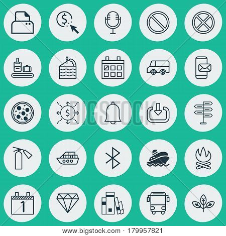 Set Of 25 Universal Editable Icons. Can Be Used For Web, Mobile And App Design. Includes Elements Such As PPC, Shipping Tour, Phone Messaging And More.