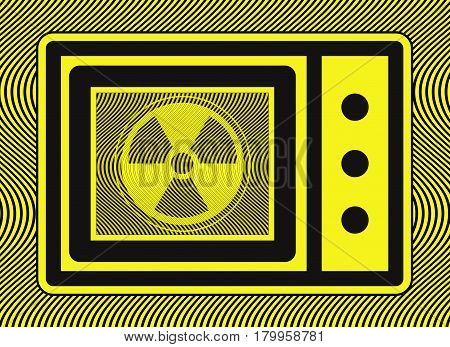 Microwave Oven Radiation. The exposure to microwave radiation leakage may be harmful to human health poster