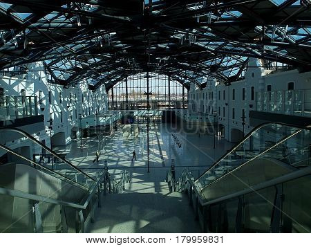 Factory lights and shadows. Lodz, Poland - March 31, 2017 Phenomenal light and shadow in the hall of the new Lodz Fabryczna railway station.