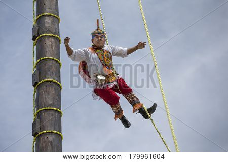 Ritual Ceremony Of The Voladores (flying Men)