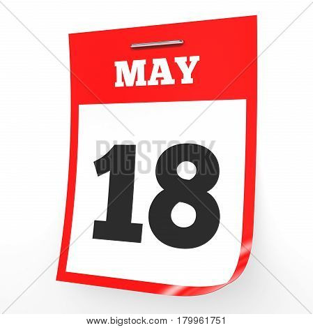 May 18. Calendar On White Background.