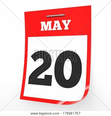 May 20. Calendar On White Background.
