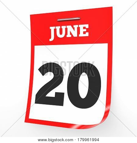June 20. Calendar On White Background.