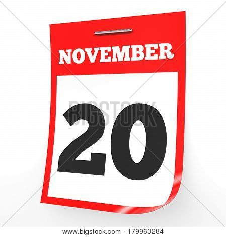 November 20. Calendar On White Background.