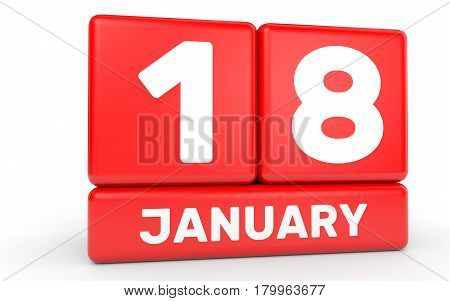 January 18. Calendar On White Background.