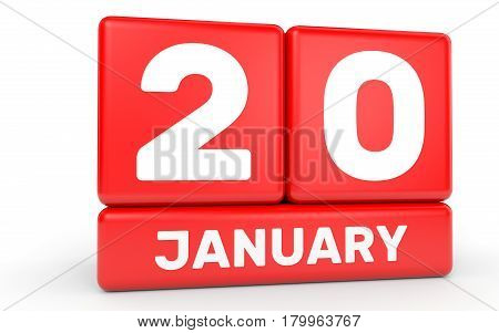 January 20. Calendar On White Background.