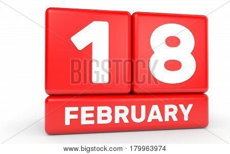 February 18. Calendar On White Background.
