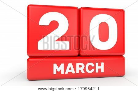 March 20. Calendar On White Background.