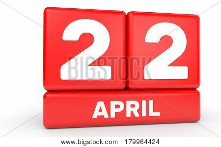 April 22. Calendar On White Background.