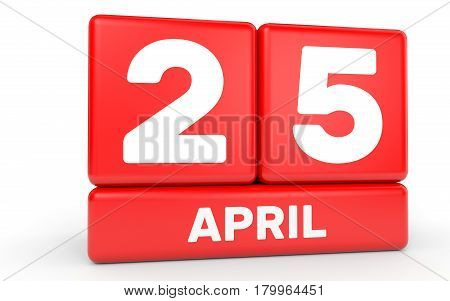 April 25. Calendar On White Background.