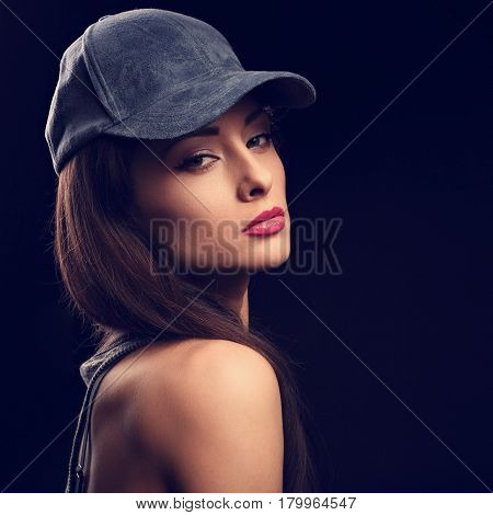 Beautiful Sexy Young Make-up Model Profile In Blue Baseball Cap With Long Hair Style Posing On Dark