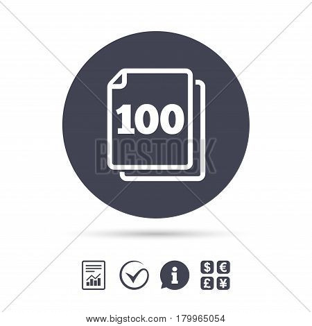 In pack 100 sheets sign icon. 100 papers symbol. Report document, information and check tick icons. Currency exchange. Vector