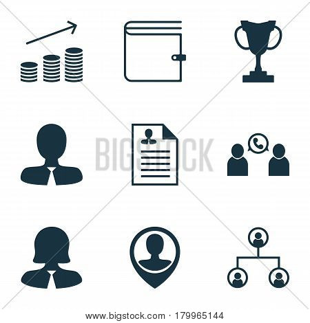 Set Of 9 Human Resources Icons. Includes Phone Conference, Tree Structure, Coins Growth And Other Symbols. Beautiful Design Elements.