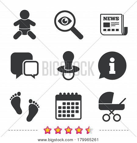 Baby infants icons. Toddler boy with diapers symbol. Buggy and dummy signs. Child pacifier and pram stroller. Child footprint step sign. Newspaper, information and calendar icons. Vector