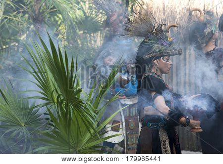 Tulum Mexico March 15th 2017: Woman in Maya indian costume in Tulum Mexico