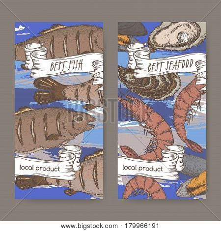 Set of two color seafood label templates with fish, lobster and seafood on blue background. Includes hand drawn elements.