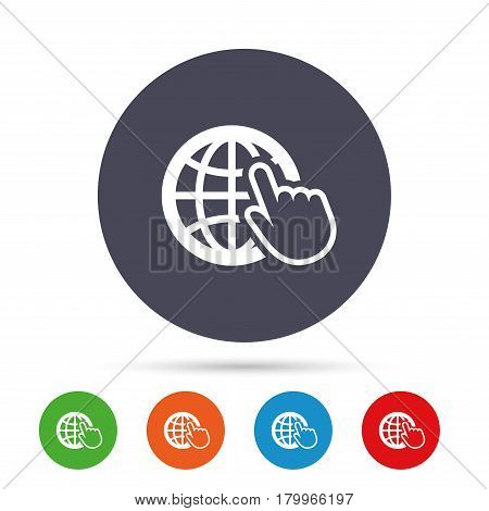 Internet sign icon. World wide web symbol. Cursor pointer. Round colourful buttons with flat icons. Vector