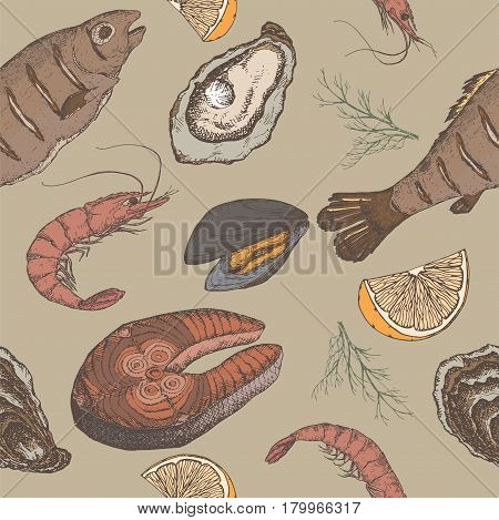 Hand drawn seafood color vector seamless pattern with grilled fish, shrimps, oyster and mytilus, lemon and dill on white background. Great for restaurants, cafes, grocery stores, food label design.