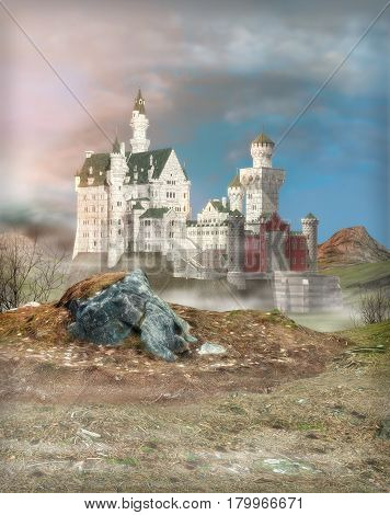 3D painting of a fantasy castle at dawn.