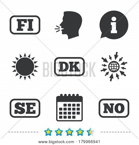 Language icons. FI, DK, SE and NO translation symbols. Finland, Denmark, Sweden and Norwegian languages. Information, go to web and calendar icons. Sun and loud speak symbol. Vector