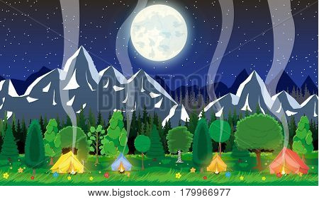 Meadow with grass and camping in night. Tent, bonfire, flowers, mountains, trees, sky, moon and stars. Vector illustration in flat style