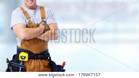 Construction worker hands