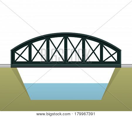 Vector arched train bridge in side view and isolated on white background. Industrial 2d transportation building. Metallic bridge architecture. Railway arc bridge. Assembled riveted bridge construction
